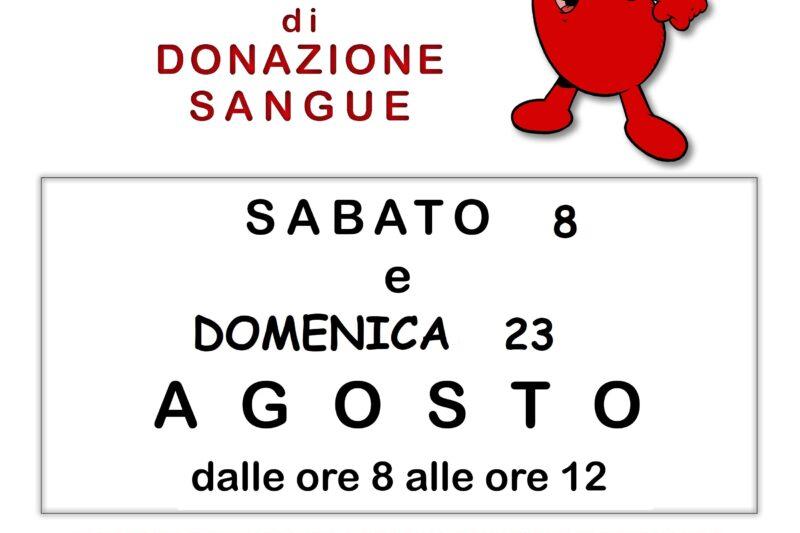 DONAZIONI SANGUE FRATRES AGOSTO 2020